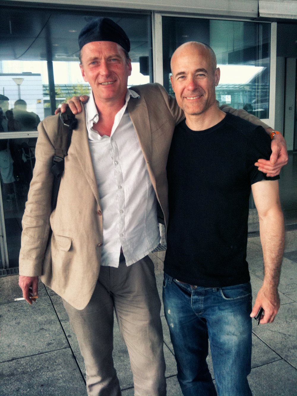 Mont and Geordie at the airport in 2013